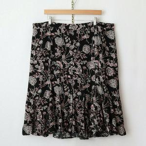 talbots 18W botanical floral flared rayon skirt